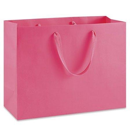 Eurotote Bag (Pink High-End Stylish Vogue Eurotote with Ribbon Handles, 16 per box (16 x 6 x 12 Size Vogue))