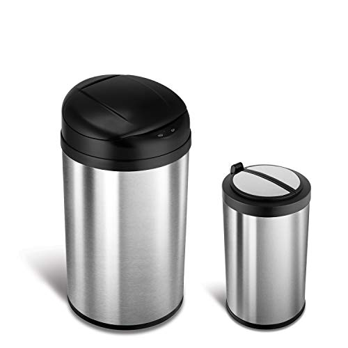 NINESTARS CB-DZT-40-8/12-18 Automatic Touchless Infrared Motion Sensor Trash Can Combo Set, 11 Gal 40L & 3 Gal 12L, Stainless Steel Base (Round, Black & Ladybug Lid)
