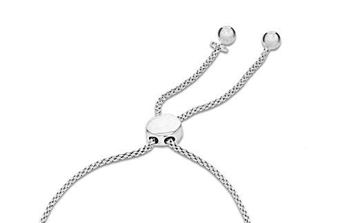 Pavé Privé Chaîne pour femme en argent sterling 925rond blanc diamants court Bar arrondi Bolo Charme Bracelet