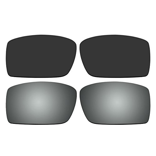 f89935edf1f ACOMPATIBLE Replacement Polarized Black and Titanium Lenses for Oakley  Gascan Sunglasses