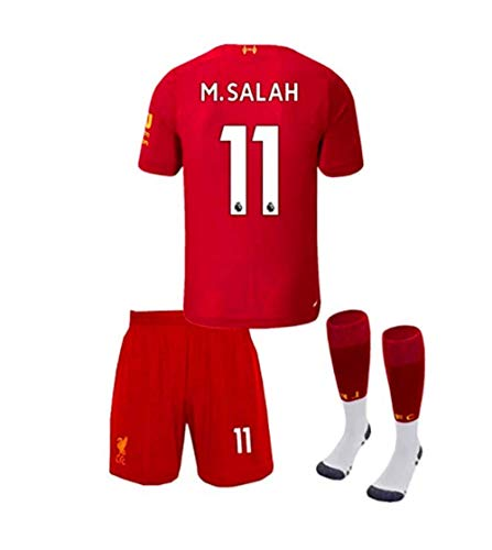 New Soccer Liverpool Home 2019/2020 11# M.Salah Soccer Jerseys Kids/Youth Soccer Shorts and Socks Colour Red Size 22