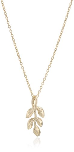14k Yellow Gold Leaf Drop Necklace, 17