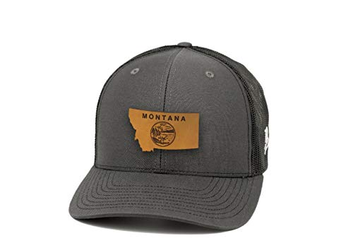- Branded Bills Montana 'The 41' Leather Patch Hat Curved Trucker - OSFA/Charcoal/Black