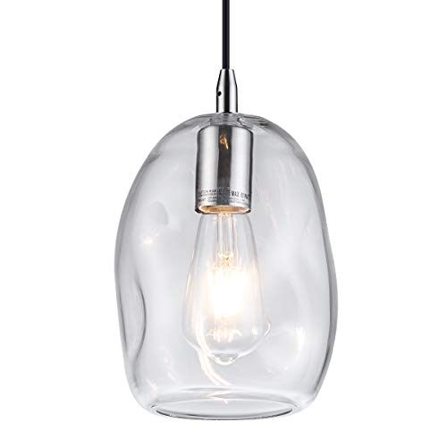 Modern Pendant Lights with Handblown Clear Glass, for Kitchen Island Bedroom Living Room Plated Sand Nickel Finish Clear Blown Glass Table Lamp