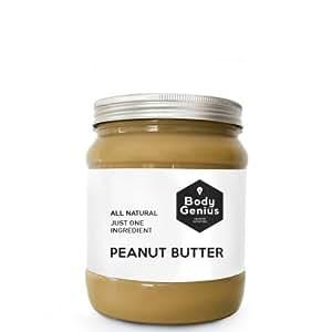 BODY GENIUS Crunchy Peanut Butter. Solo cacahuete tostado SIN PIEL. Textura Crujiente. Made in Spain.1000 gr