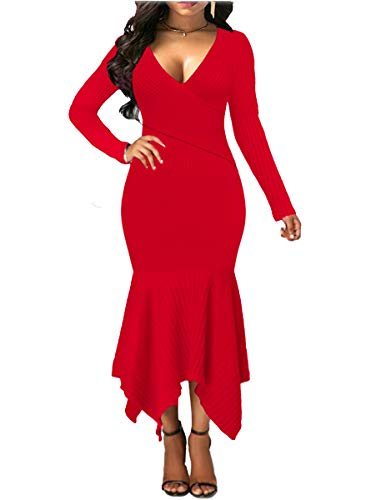Womens Long Sleeve Stretchable Elasticity Slim Fit Sweater Dress Surplice Wrap Bodycon Knit Maxi Dress (XL, Red) ()