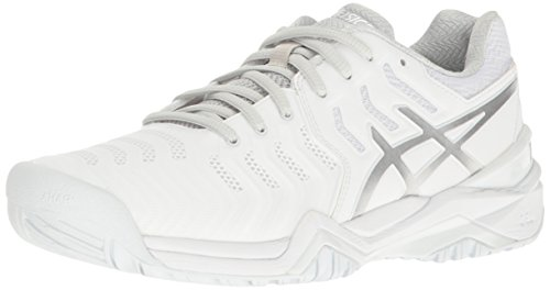 ASICS Women's Gel-Resolution 7 Tennis Shoe, White/Silver, 8 M US