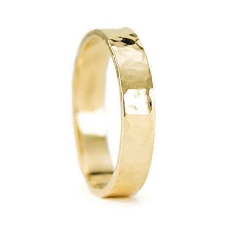 Amazon.com: 14k Gold Wedding Ring for Him or Her - Solid Yellow Gold ...