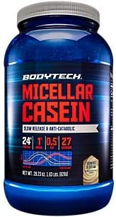 BodyTech Micellar Casein Protein Powder, Slow Release for Overnight Muscle Recovery 24 Grams of Protein per Serving Cookies Cream 1.86 Pound