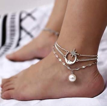 Starfish Shape Star Anklet Bracelet Pearl Beaded Ankle Bracelets for Women Foot