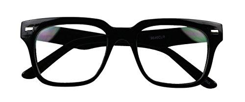 Basik Eyewear - Simple Square Bold Flat Top Retro Geeky Clear Lens Eye Glasses (Black Frame, - Frames Glasses Geeky
