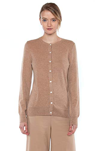 Crewneck Camel Sweater Cashmere - JENNIE LIU Women's 100% Cashmere Button Front Long Sleeve Crewneck Cardigan Sweater (L, Camel)