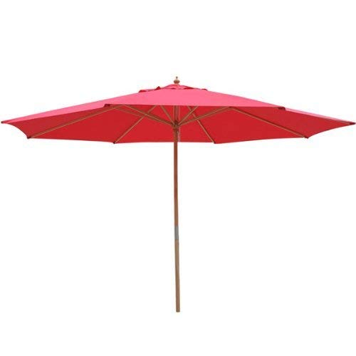 XL 13' Foot Red Polyester Umbrella & 8-rib Solid Sycamore Wood Pole w/ Pulley for Outdoor Patio Furniture Overhead Cover Canopy UV Protection Sun Shade Café Shop (European Furniture Brands Outdoor Best)