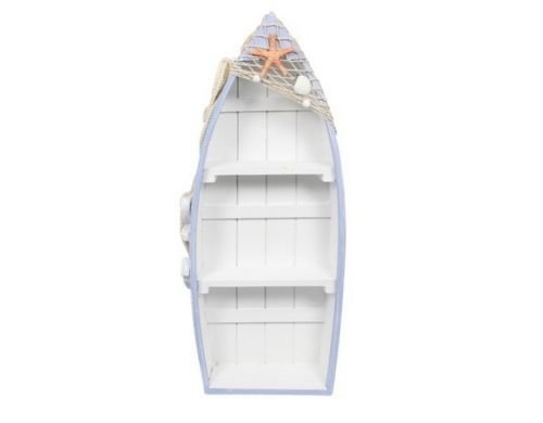 Malmar Enterprises Beach Theme Display Boat with 3 Shelves with Fish Net and Star Fish / Shell, 48cm