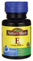 Nature Made vitamine E - 200 UI - 100 gélules liquides