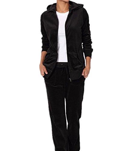 Trim Velour Hoodie Jacket (Dustin Clothes Velour Tracksuit Set Velvet Sporty Casual Zip Hoodie Jacket Sweat Pants)