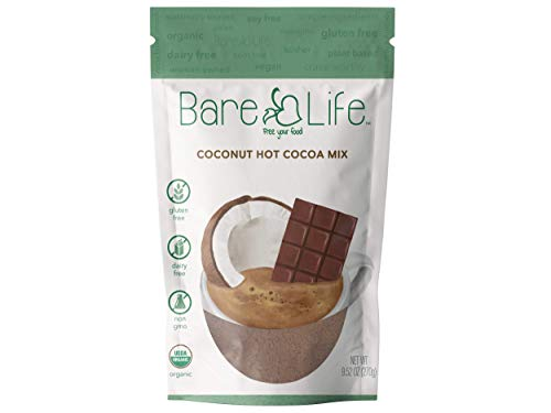 Bare Life: Instant Dairy Free Coconut Hot Cocoa Mix - 10 Serving Pouch | Gluten Free, Vegan, Organic, Plant Based, Paleo, Soy Free, Corn Free, Lactose Free, Refined Sugar Free, Chocolate, 9.52 oz.
