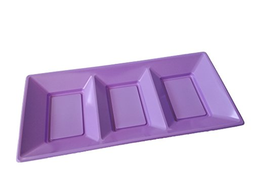 Multi Sectional Rectangular, Platter Premium Plastic for Party Serving Snacks/Candies/Nuts/Fruits, 3 Count, ()
