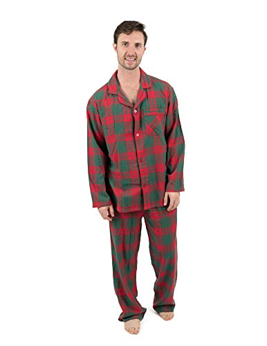 Leveret Mens Pajamas Flannel Pjs 2 Piece Christmas Pajama Set Red/Green Plaid Size Large ()