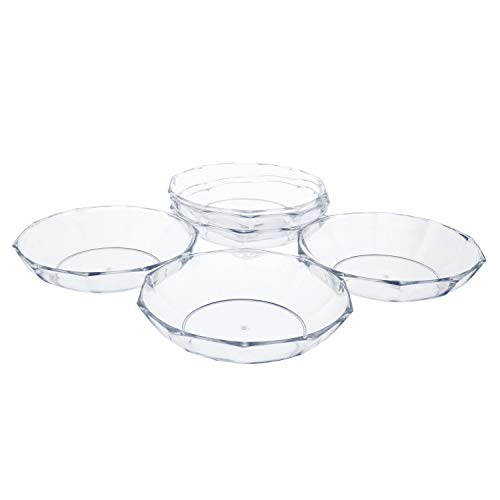 """11"""" Clear Acrylic Deep Designer Pie Plate, Floral Flower Dish, Wedding, Party, Home and Holiday Decor, 6 Pack"""
