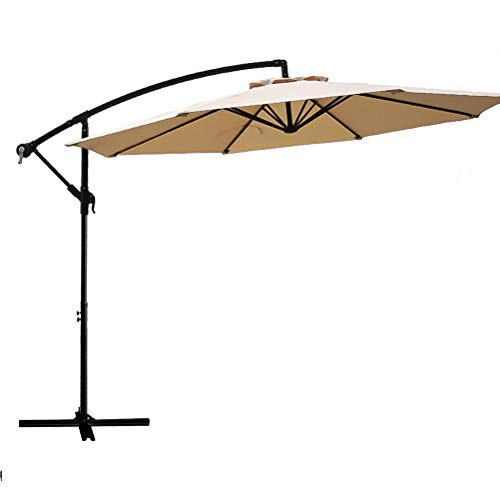 FLAME&SHADE 10 Offset Cantilever Hanging Patio Umbrella Large Market Style for Outdoor Balcony Table or Large Garden Terrace, Beige