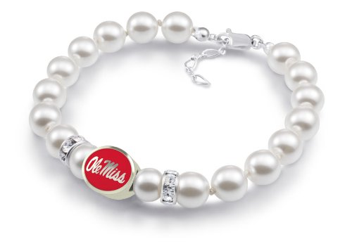 University of Mississippi OLE MISS White Glass Pearl Bracelet With Oval Enamel Bead Charm ()