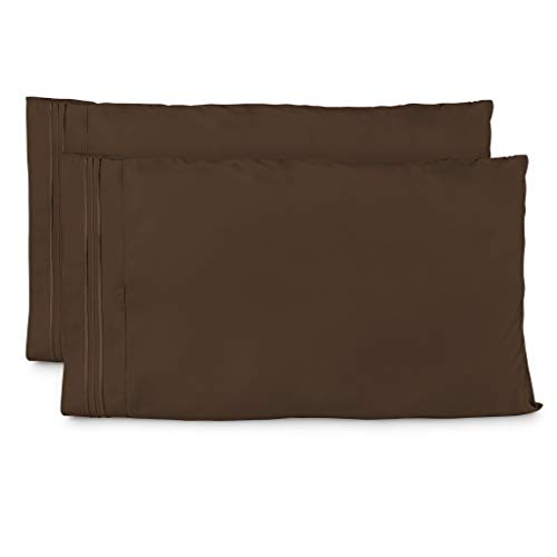 Cosy House Collection Pillowcases King Size - Chocolate Luxury Pillow Case Set of 2 - Premium Super Soft Hotel Quality Pillow Protector Cover - Cool & Wrinkle Free - -
