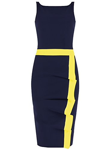 eless Colorblock Slim Bodycon Business Pencil Dress (X-Large, Navy Blue+Yellow) ()