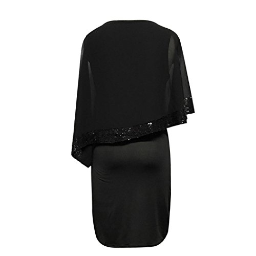 Negro M Mujer Vestidos lentejuelas de mujeres Negro manga 2018 gasa Las fiesta de abocinada de noche vestido Verano de corta manga mini la malla LMMVP gqqfA