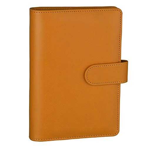 Antner A6 PU Leather Notebook Binder Refillable 6 Ring Binder for A6 Filler Paper, Loose Leaf Personal Planner Binder Cover with Magnetic Buckle Closure, Dark Yellow
