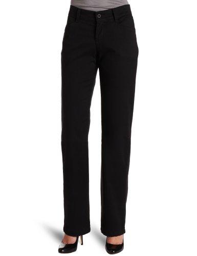 Lee Women's Petite Relaxed Fit Plain Front Straight Leg Pant, Black, 4 Petite
