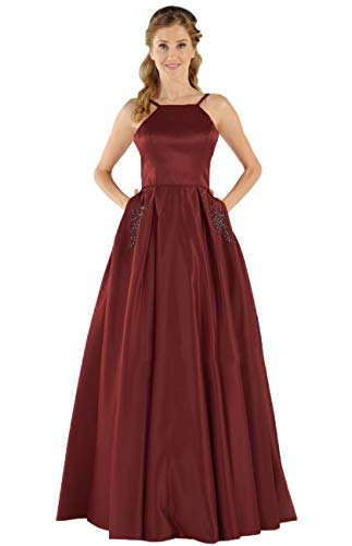 Women's Halter Spaghetti Strap Beaded Satin Evening Prom Dress Long Formal Gown with Pocket Burgundy Size 2