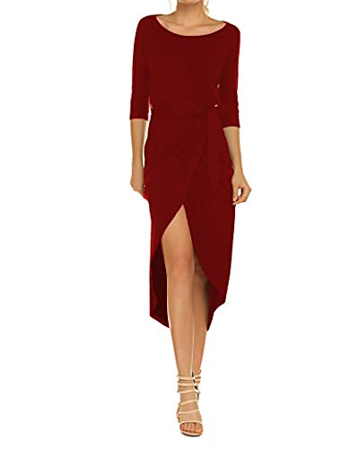 Women's Elegant Batwing Sleeve Wear to Work Casual Pencil Dress with Belt Wine Red M