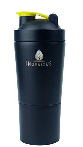 INGENIOUS Stainless Steel Protein Shaker - with Storage - Double Wall Vacuum Insulated - Sports Water Bottle - Jet Black 23 Oz - 18/8 Food Grade Steel BPA & BPS Free Leak Proof Lid