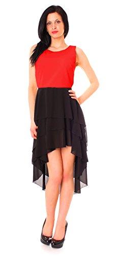 Damen Vokuhila Kleid mit Volants in verschiedenen Farben (rot/schwarz)