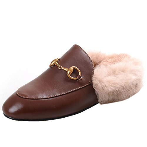 (Agodor Womens Flats Suede Leather Slingback Mules Faux Fur Slip on Outdoor Dress Slippers Warm Classic Shoes (US 8, Brown))