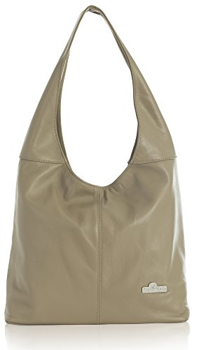 Genuine Bag Leather Shoulder Shopper Hobo Soft Light Olivia Italian Liatalia Medium Taupe gpqfUf