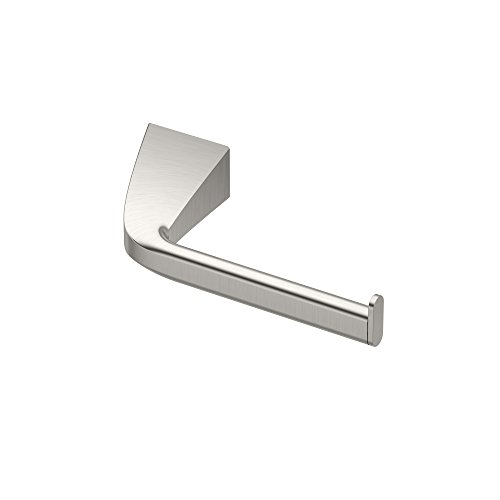 Gatco 5183 Quantra Bathroom Single Post Euro Style Toilet Paper Holder, Satin Nickel - Satin Nickel Single Post Mount