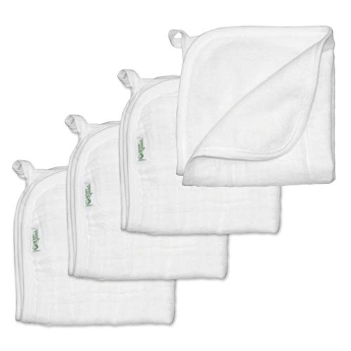 green sprouts Muslin Washcloths made from Organic Cotton (4 pack) | 2 absorbent layers gently clean baby | Organic cotton muslin & knitted terry, Super soft & softer with every wash, Generously sized
