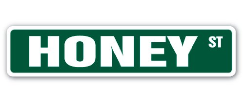 HONEY Street Sign bee bees hive clover wax | Indoor/Outdoor |  18