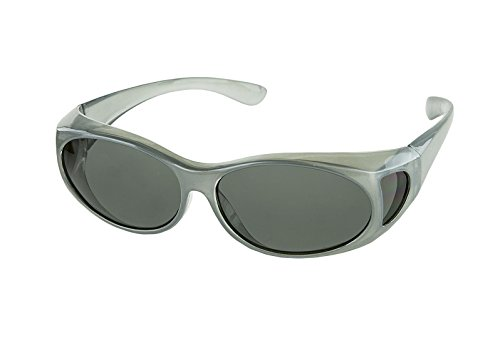 LensCovers Wear Over Sunglasses Small Silver Frames with Smoke Lens - Fit Over ()