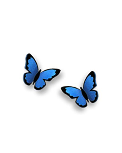 Blue Butterfly Folded Post Earrings Made in USA by Sienna Sky si1732