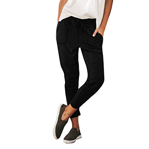 (Medium, Black) - Lefthigh Women's Lace-up Slim Pants, Casual Pants Drawstring Pocket Casual Sports Pencil Trousers