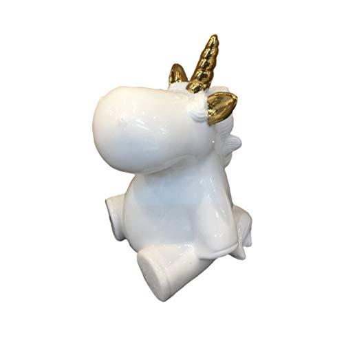 Benzara BM189394 Decorative Ceramic Baby Unicorn Figurine, White and Gold