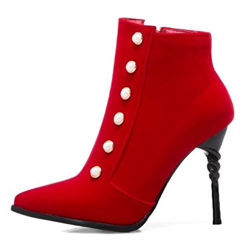 Mode Taoffen Haut Fermeture Talon Bottines Eclair Femmes Rouge Cqq6Swx5