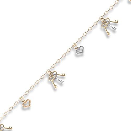 Jewelco Londres 9K 2 couleurs touches d'or et aime bracelet 2.2mm charme