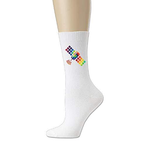 Price comparison product image HANBINGPO Casual Socks Tie Dye Space Satellite Cotton Thin Crew Sock For Men Women White-One Size