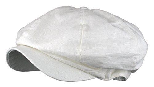 Men's Linen 8 Panel Applejack Gatsby Newsboy Ivy Hat (One Size, White)