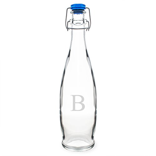Cathy's Concepts Personalized Swing Top Glass Water Bottle, Letter B (Cathy Vase)