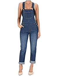 Women's Basic Boyfriend Fit Denim Bib Overalls Plus